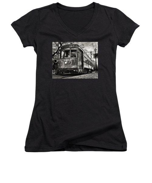 A Streetcar Named St Charles Women's V-Neck T-Shirt