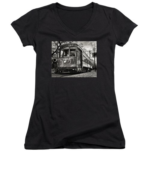 A Streetcar Named St Charles Women's V-Neck (Athletic Fit)