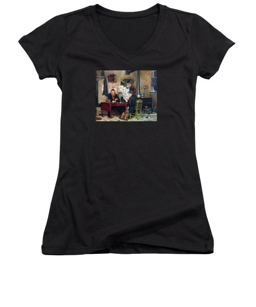Women's V-Neck T-Shirt (Junior Cut) featuring the painting A Study Of Waiting For The Stage by Donna Tucker