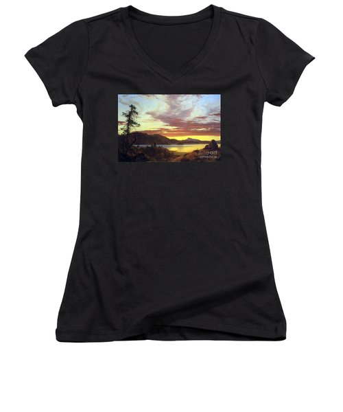 A Sunset By Frederick Edwin Church Women's V-Neck T-Shirt