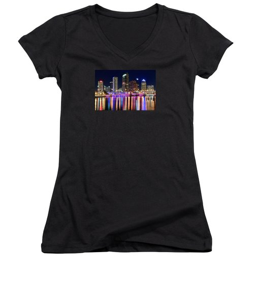 A Tampa Bay Night Women's V-Neck T-Shirt (Junior Cut) by Frozen in Time Fine Art Photography