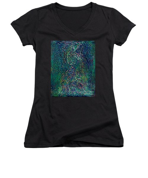 A Touch Of Pink Peacock Women's V-Neck (Athletic Fit)