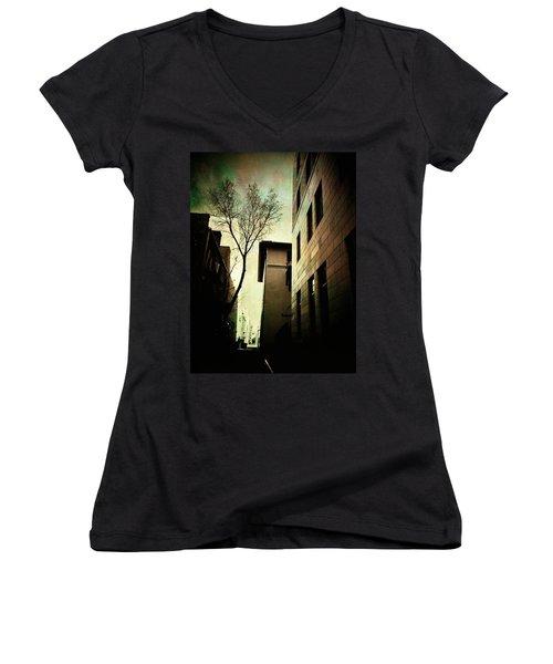 A Tree Grows In Albuquerque Women's V-Neck T-Shirt (Junior Cut) by Mark David Gerson