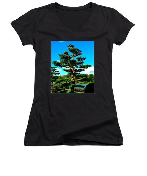 A Tree... Women's V-Neck T-Shirt (Junior Cut) by Tim Fillingim