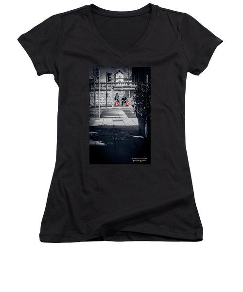 Women's V-Neck featuring the photograph A Very Long Waiting Day by Stwayne Keubrick