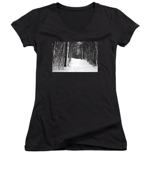 A Walk In Snow Women's V-Neck (Athletic Fit)