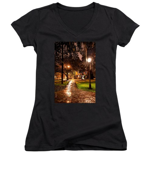 A Walk In The Park Women's V-Neck T-Shirt (Junior Cut) by Renee Sullivan