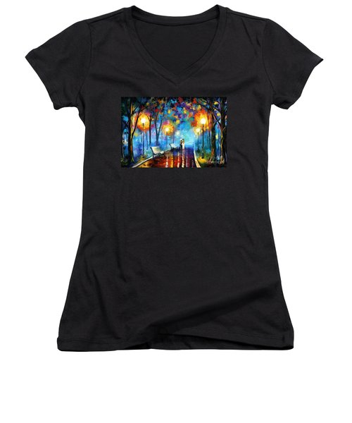 A Walk In The Park Women's V-Neck T-Shirt (Junior Cut) by Tim Gilliland