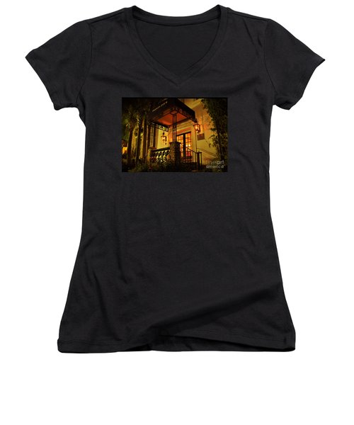 Women's V-Neck T-Shirt (Junior Cut) featuring the photograph A Warm Summer Night In Charleston by Kathy Baccari