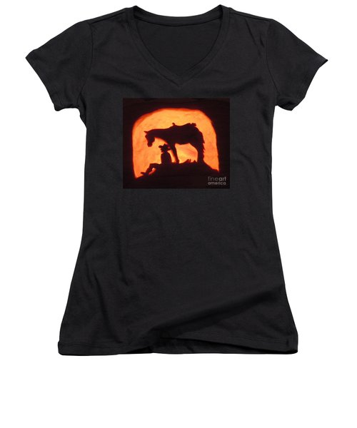 Country Style Halloween Pumpkin Carving Women's V-Neck (Athletic Fit)