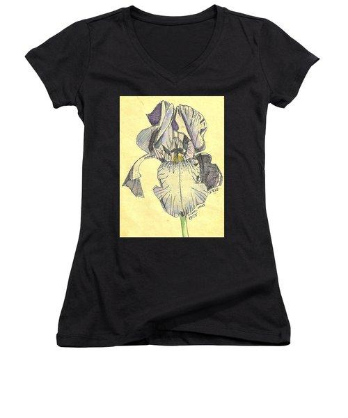 Women's V-Neck T-Shirt (Junior Cut) featuring the photograph A Wild Lavender Louisiana Iris by Michael Hoard