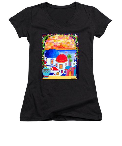 Women's V-Neck T-Shirt (Junior Cut) featuring the painting A Window Over Santorini by Roberto Gagliardi