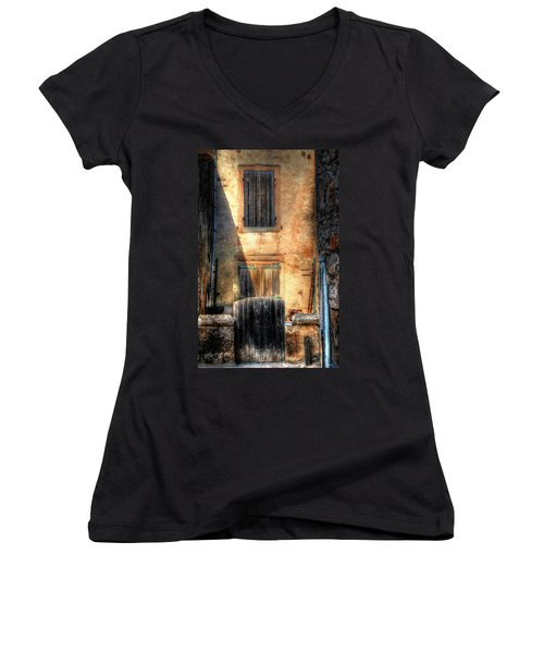 Women's V-Neck T-Shirt (Junior Cut) featuring the photograph A Yard In France by Tom Prendergast