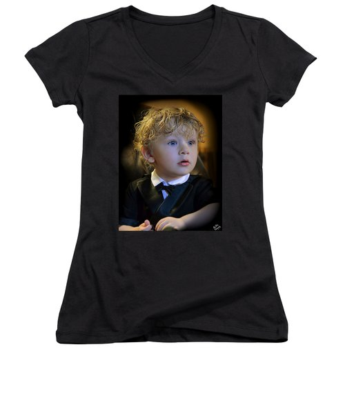 Women's V-Neck T-Shirt (Junior Cut) featuring the photograph A Young Gentleman by Ally  White