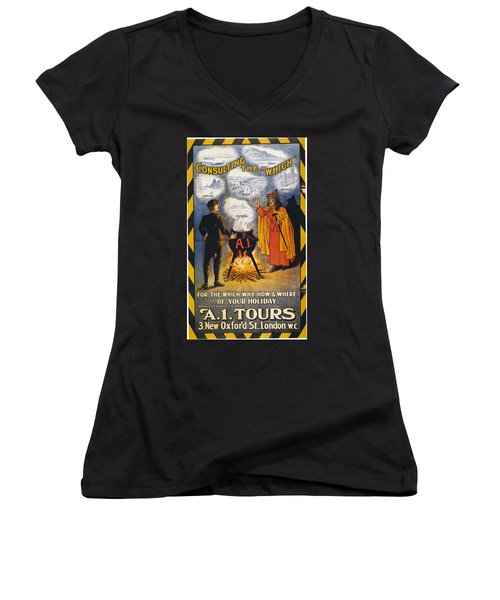Women's V-Neck T-Shirt (Junior Cut) featuring the photograph A1 Tours Vintage Travel Poster by Gianfranco Weiss