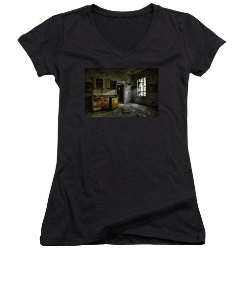 Abandoned Building - Old Asylum - Open Cabinet Doors Women's V-Neck T-Shirt (Junior Cut) by Gary Heller