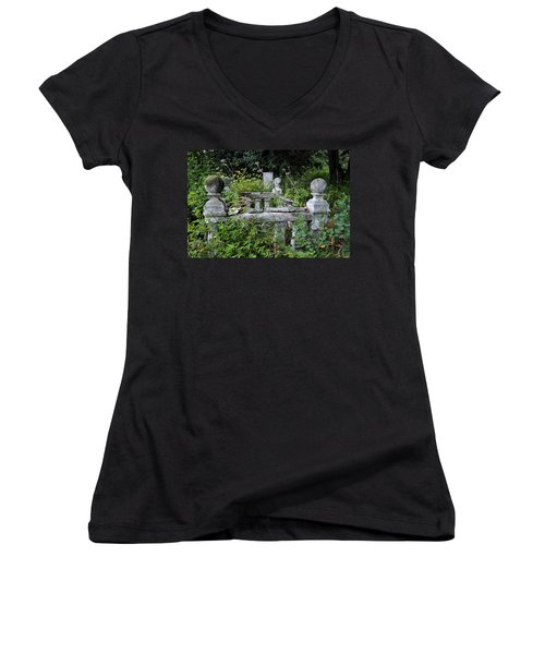 Women's V-Neck T-Shirt (Junior Cut) featuring the photograph Abandoned Cemetery 2 by Cathy Mahnke