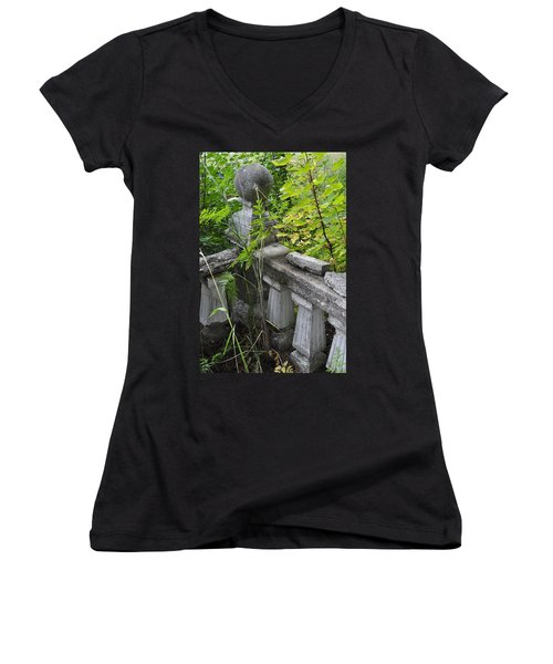 Women's V-Neck T-Shirt (Junior Cut) featuring the photograph Abandoned Cemetery by Cathy Mahnke