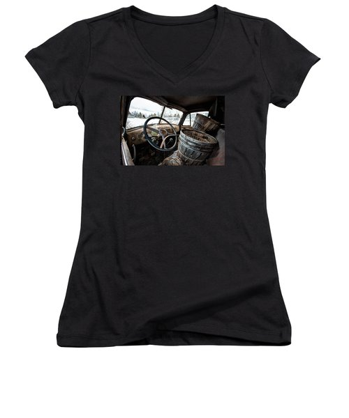 Women's V-Neck T-Shirt (Junior Cut) featuring the photograph Abandoned Chevrolet Truck - Inside Out by Gary Heller