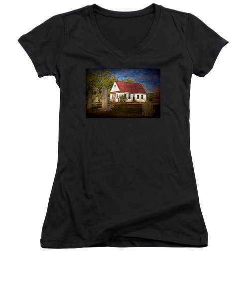 Abandoned Church And Graves Women's V-Neck