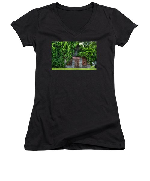 Women's V-Neck T-Shirt (Junior Cut) featuring the photograph Abandoned by Kathy Baccari
