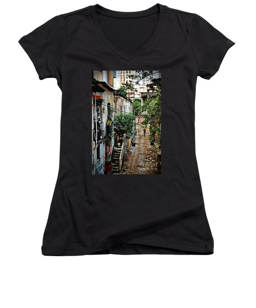 Abandoned Place In Sao Paulo Women's V-Neck (Athletic Fit)