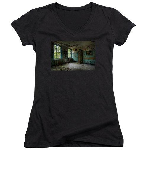 Abandoned Places - Asylum - Old Windows - Waiting Room Women's V-Neck
