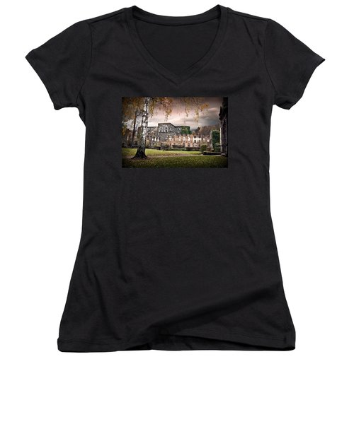 abbey ruins Villers la ville Belgium Women's V-Neck T-Shirt (Junior Cut) by Dirk Ercken