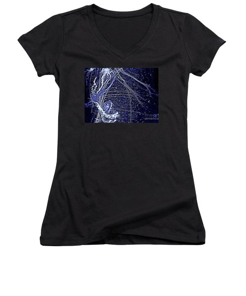 Women's V-Neck T-Shirt (Junior Cut) featuring the photograph Aberration Of Jelly Fish In Rhapsody Series 3 by Antonia Citrino