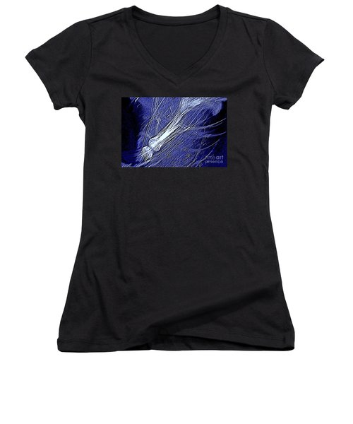 Women's V-Neck T-Shirt (Junior Cut) featuring the photograph Aberration Of Jelly Fish In Rhapsody Series 5 by Antonia Citrino