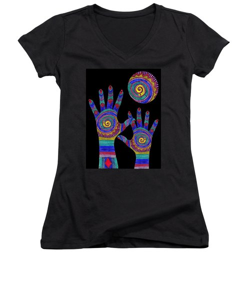 Women's V-Neck featuring the drawing Aboriginal Hands To The Sun by Barbara St Jean