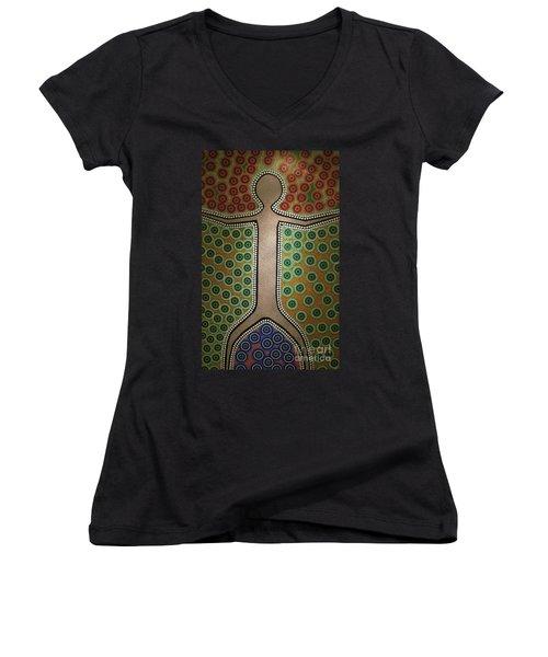Women's V-Neck T-Shirt (Junior Cut) featuring the photograph Aboriginal Inspirations 21 by Mariusz Czajkowski