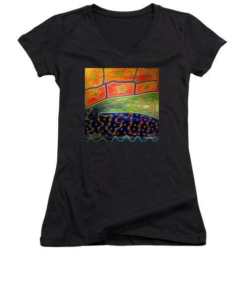 Original Sold Aboriginal Inspirations 7 Women's V-Neck (Athletic Fit)