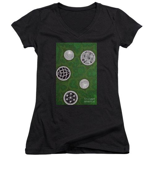 Women's V-Neck T-Shirt (Junior Cut) featuring the painting Sold  by Mariusz Czajkowski