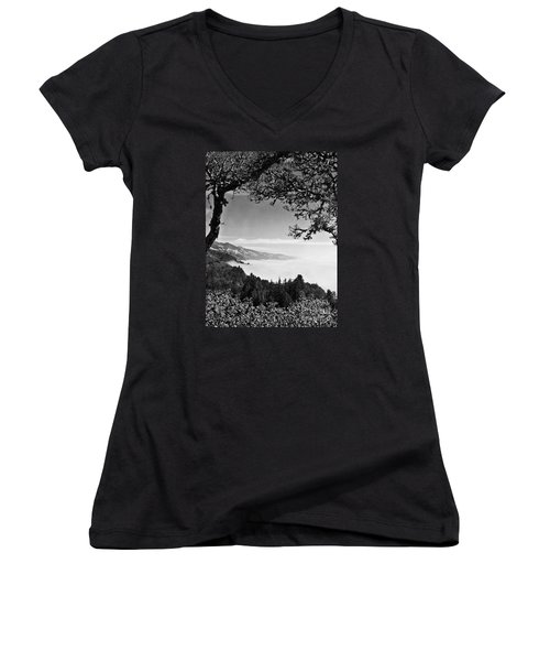 Women's V-Neck T-Shirt (Junior Cut) featuring the photograph Above Nepenthe In Big Sur by Joseph J Stevens