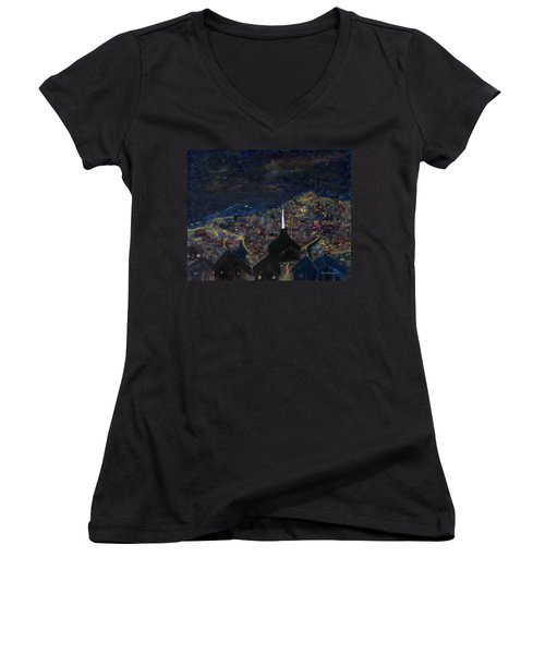 Above The City At Night Women's V-Neck