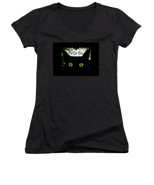 Absinthe Black Cat Women's V-Neck T-Shirt (Junior Cut) by Absinthe Art By Michelle LeAnn Scott