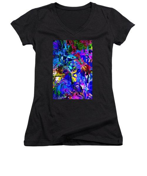 Abstract 010215 Women's V-Neck T-Shirt (Junior Cut) by David Lane