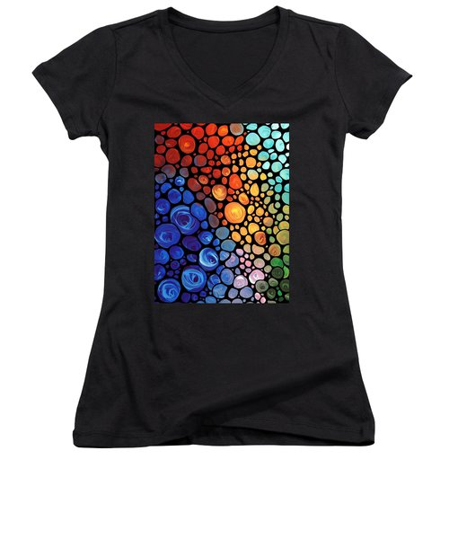 Abstract 1 - Colorful Mosaic Art - Sharon Cummings Women's V-Neck