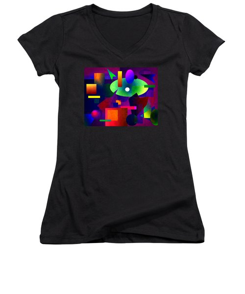 Abstract 74 Women's V-Neck T-Shirt (Junior Cut) by Timothy Bulone