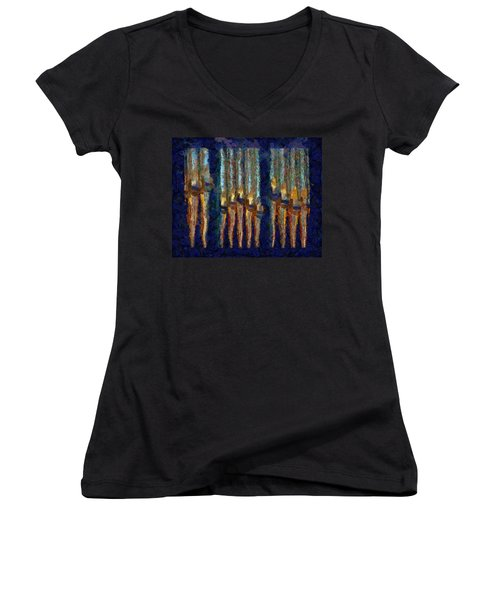 Abstract Blue And Gold Organ Pipes Women's V-Neck (Athletic Fit)
