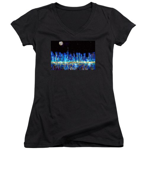 Abstract City Skyline Women's V-Neck (Athletic Fit)
