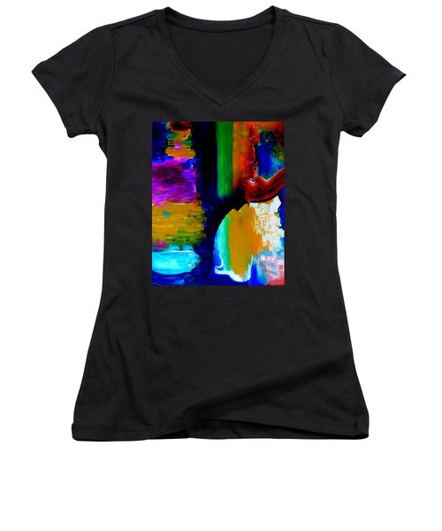 Women's V-Neck T-Shirt (Junior Cut) featuring the painting Abstract Du Colour by Lisa Kaiser
