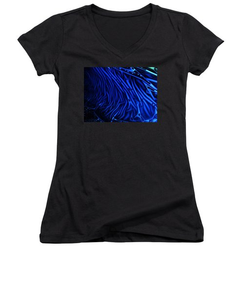 Abstract Experimental Chemiluminescent Photography Blue 1 Women's V-Neck T-Shirt (Junior Cut) by David Mckinney