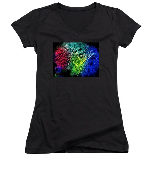 Abstract Experimental Chemiluminescent Photography Women's V-Neck T-Shirt (Junior Cut) by David Mckinney