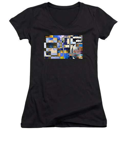 Women's V-Neck T-Shirt (Junior Cut) featuring the painting Abstract In Blue And White by Curtiss Shaffer