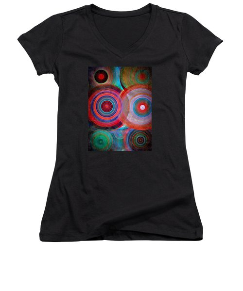 Women's V-Neck T-Shirt (Junior Cut) featuring the mixed media Abstract In Silk  by Gabriella Weninger - David