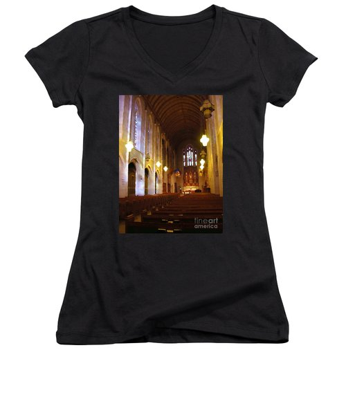Women's V-Neck T-Shirt (Junior Cut) featuring the photograph Abstract - Egner Memorial Chapel Interior by Jacqueline M Lewis