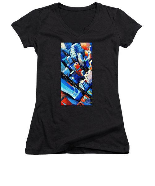 Abstract New York Sky View Women's V-Neck (Athletic Fit)