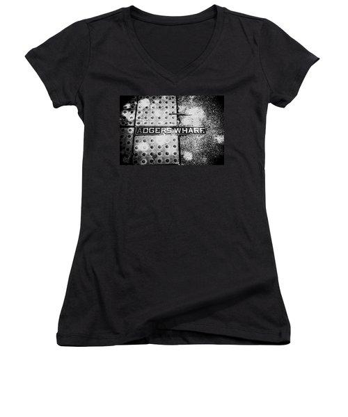 Women's V-Neck T-Shirt (Junior Cut) featuring the photograph Adgers Wharf by Sennie Pierson